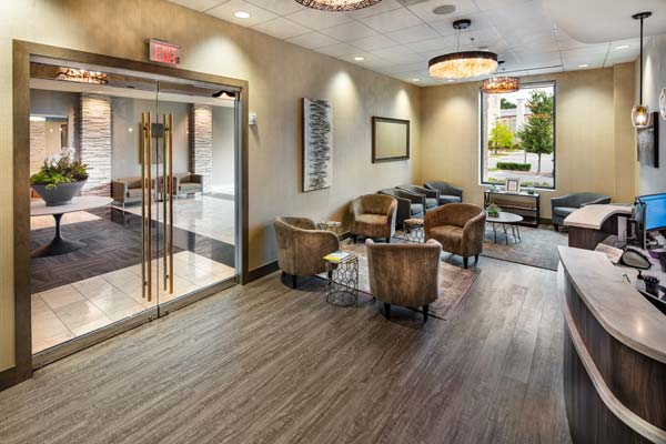 The entrance and lobby of our Alpharetta (at Avalon) office
