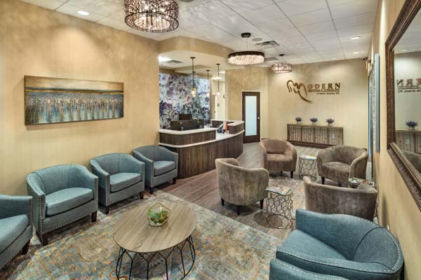 The lobby and waiting area of our Alpharetta (at Avalon) office