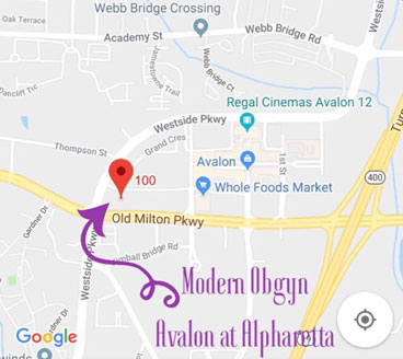 Local map for the office of  Modern Obstetrics & Gynecology of North Atlanta, Alpharetta, Georgia 30009